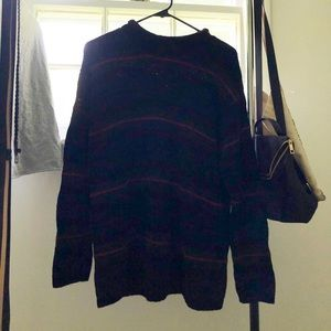 VINTAGE STRIPPED HIGH NECK SWEATER